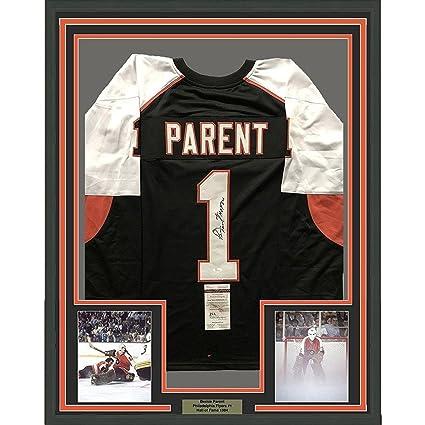 Image Unavailable. Image not available for. Color  Autographed Bernie  Parent Jersey - FRAMED 33x42 Black COA - JSA Certified ... 699f0d5b7