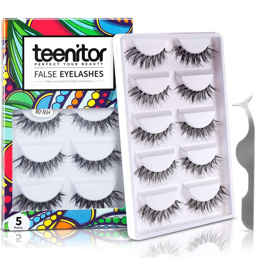 3f87f36bd18 Amazon.com : Teenitor 10 Pair Crisscross False Eyelashes Lashes, Nature  Looking Fake Eyelashes Set For Women Girls, Comes With Free Fake Eyelash  Applicator ...