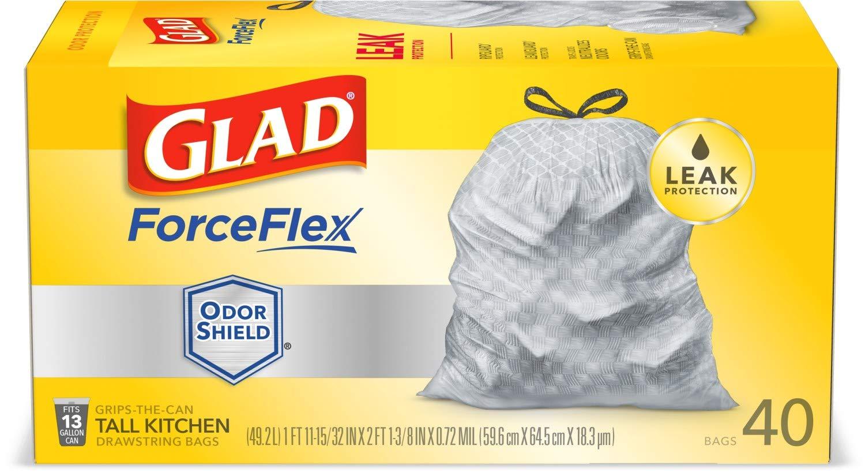 Febreze Fresh Clean Glad Tall Kitchen Drawstring Trash Bags 56 Count Clorox Company ForceFlexPlus Advanced Protection 13 Gallon Grey Trash Bag