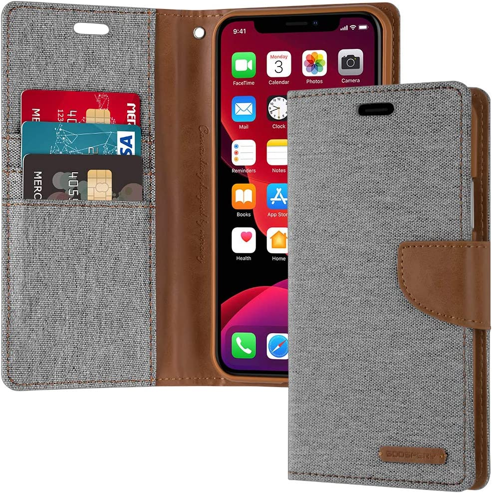 Goospery Canvas Wallet for Apple iPhone 11 Case (6.1 inches) Denim Stand Flip Cover (Gray) IP11-CAN-GRY