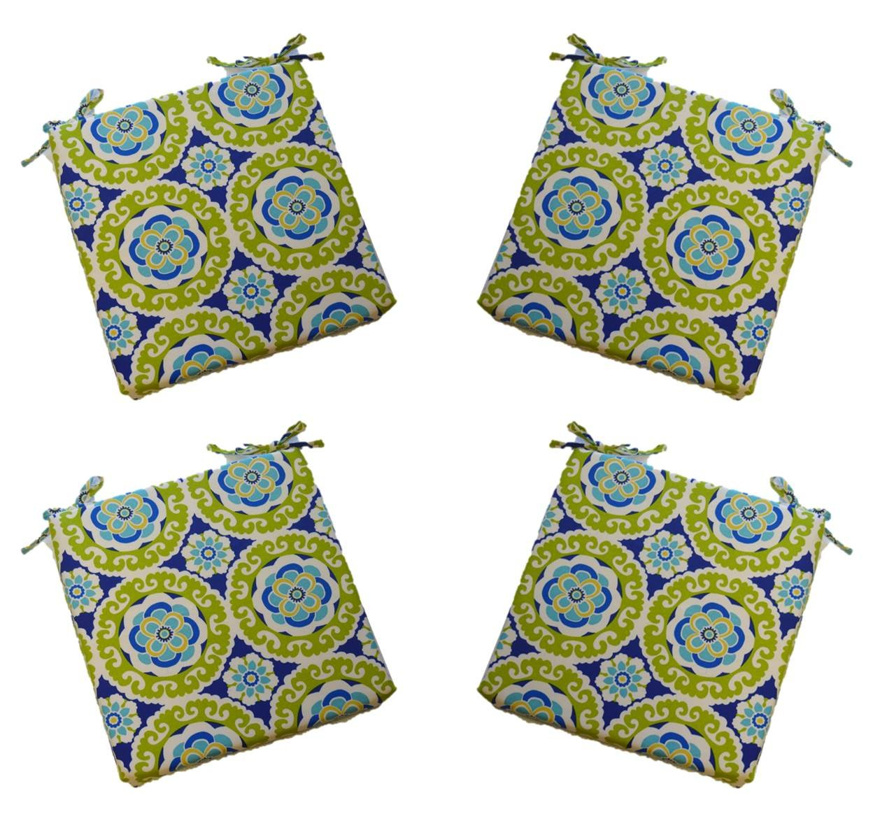 Set of 4 - Universal 2'' Thick Foam Seat Cushion with Ties for Dining / Patio Chair - Blue, Green, Yellow, Turquoise Floral Bohemian Sundial Fabric - Choose Size (17 1/2'' x 17 1/2'')