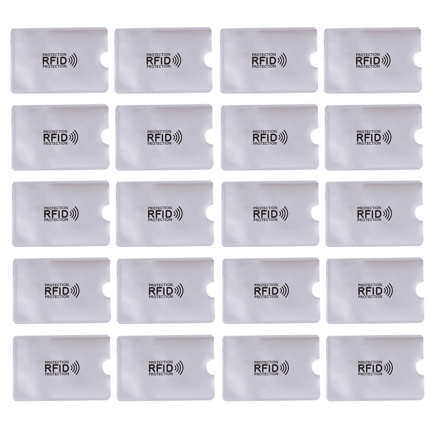 20PCS Aluminum Anti Theft RFID Blocking Sleeves Card Holder Protector for Credit ID Debit Card Elisona S