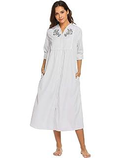 ad739ed01d Ekouaer Women s Sleepwear Zip Front Duster Short Sleeve House Dress Long  Nightgown S-XXL