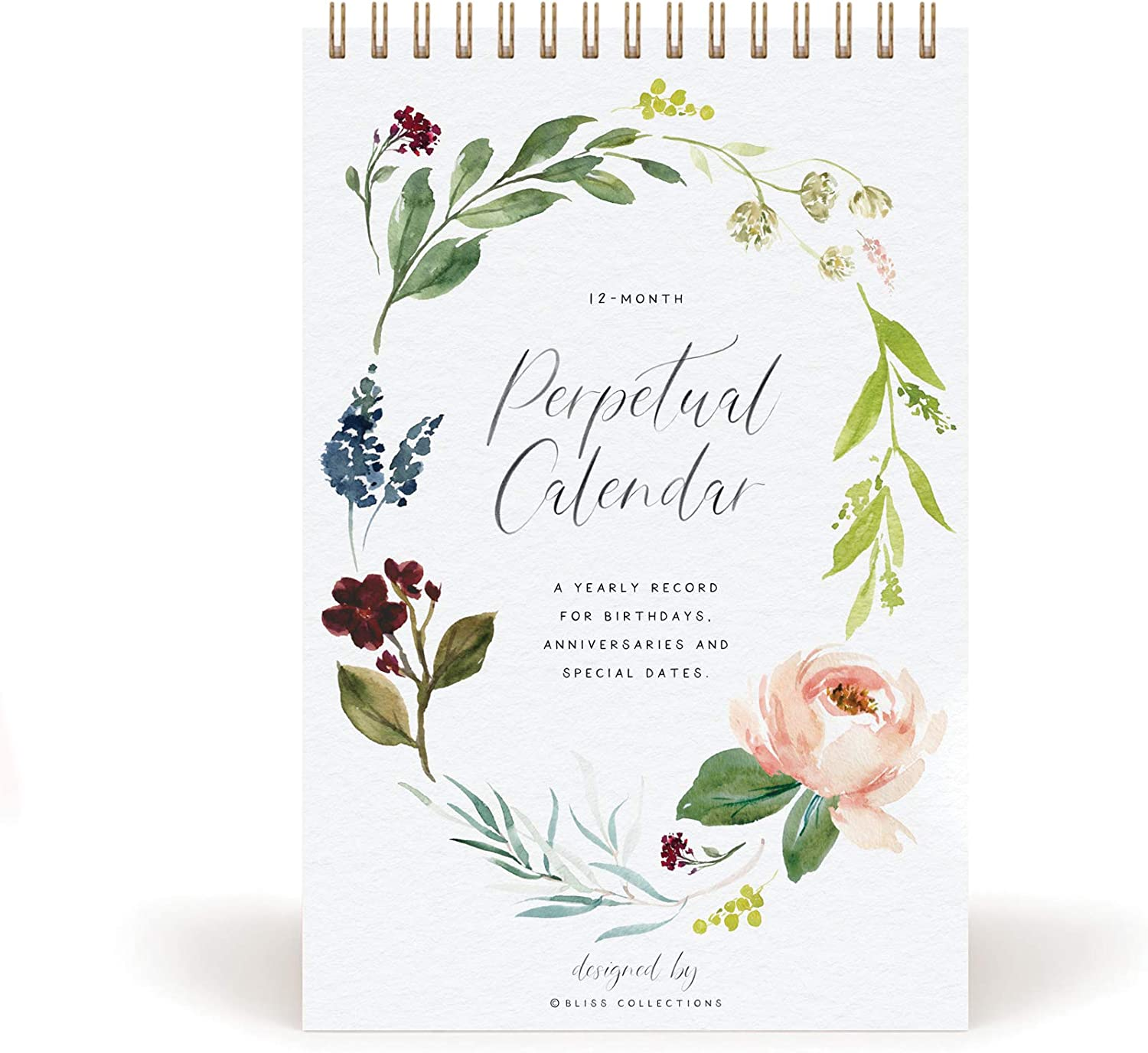 Bliss Collections Perpetual Calendar for Birthdays and Anniversaries, 12 Month Botanical Floral Dates to Remember Book, Journal for Important & Special Days, Wall Hanging Date Organizer 6x9 inches