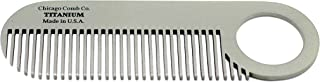 product image for Chicago Comb Model 2 Titanium, Made in USA, Ultimate Daily Use Beard & Mustache comb, Pure American Titanium, Anti-Static, Patented Design, Ultra-Smooth, Strong, Light, 4 in. (10 cm)