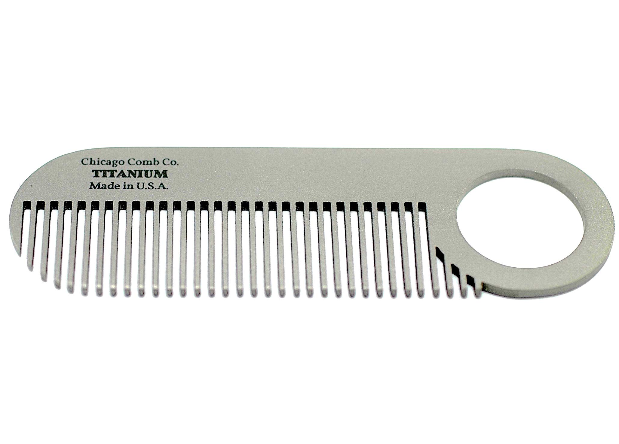 Chicago Comb Model 2 Titanium, Made in USA, Ultimate Daily Use Beard & Mustache comb, Pure American Titanium, Anti-Static, Patented Design, Ultra-Smooth, Strong, Light, 4 in. (10 cm) by Chicago Comb
