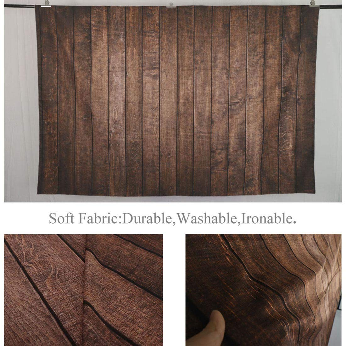 Allenjoy 7x5ft Fabric Vintage Brown Wood Backdrops for Newborn Photography Wrinkle Free Rustic Russet Grunge Wooden Floor Planks Wall Baby Portrait Still Life Product Photographer Photo Studio Props by Allenjoy (Image #4)