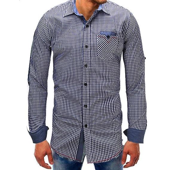 OHQ_Camisa Hombre Blusa OtoñO Moda 2018 Lattice Denim BotóN De Manga Larga Beefy Basic SóLida Camiseta