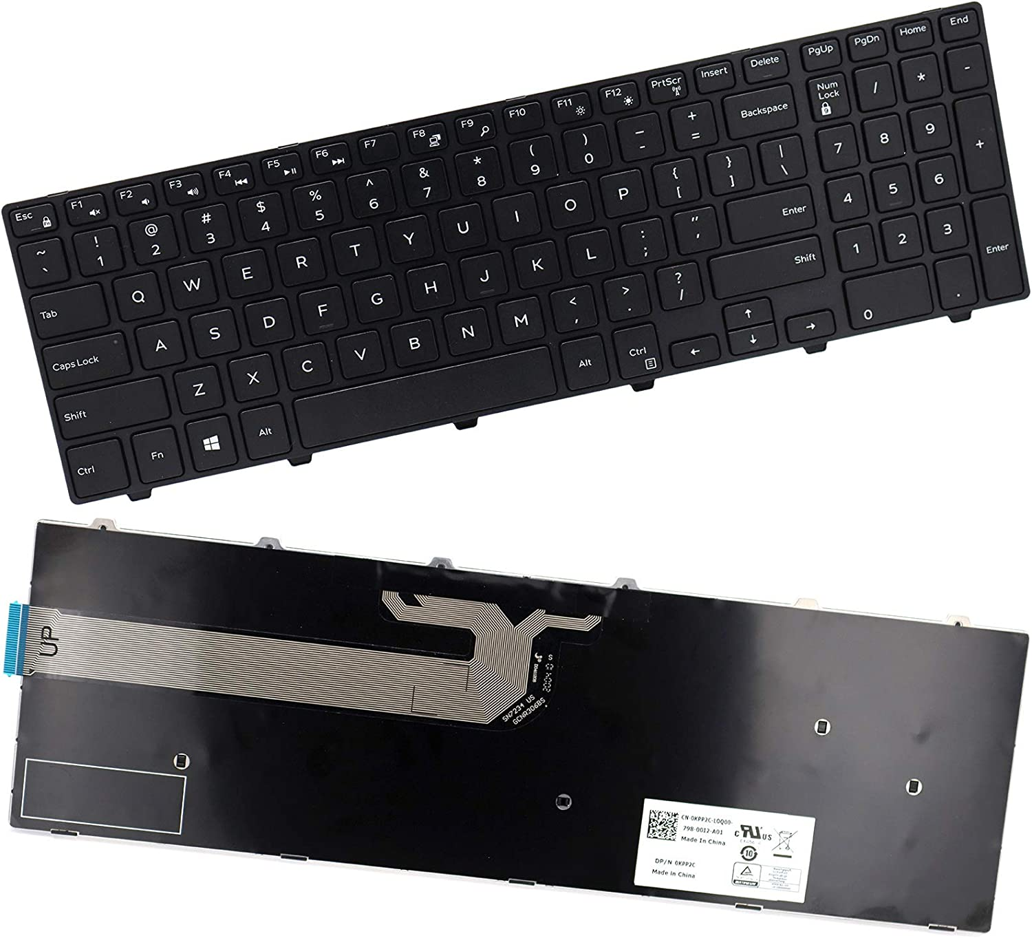 Deal4GO Replacement Keyboard (Non-Backlit) for Dell Inspiron 15 3541 3542 3543 3551 3552 5542 5545 5547 5755 5551 5552 5557 5558 5559 5758 5759 7557 7559 17 5748 5749 5755 5758 5759 0KPP2C JYP58