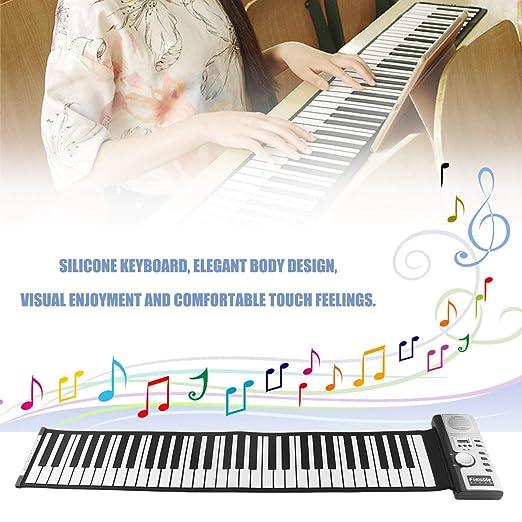 61 Teclas 128 Tonos Roll Up Teclado de Piano Electrónico Teclado Digital Portátil Piano Instrumento Musical Recargable Flexible: Amazon.es: Instrumentos ...