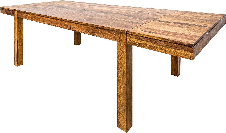 Invicta Interior Massiver Esstisch Lagos 31-31cm mit Ansteckplatten  Sheesham Stone Finish Tisch Konferenztisch Holztisch
