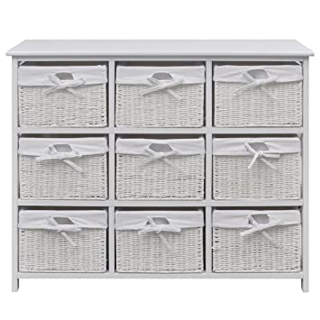 Festnight Wide Storage Unit with Wicker Baskets Chest of 9 Drawers Cabinet for Home Bedroom (  sc 1 st  Amazon UK & Festnight Wide Storage Unit with Wicker Baskets Chest of 9 Drawers ...