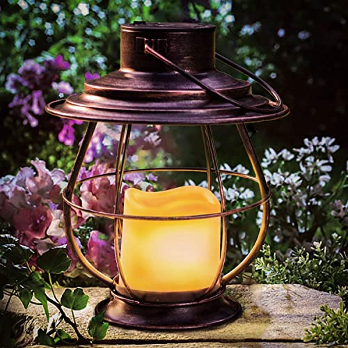 Polami Solar Lanterns Outdoor Hanging Lights Decorative with Waterproof LED Flickering Flameless Solar Candles for Patio Table Garden Pathway Yard Decor