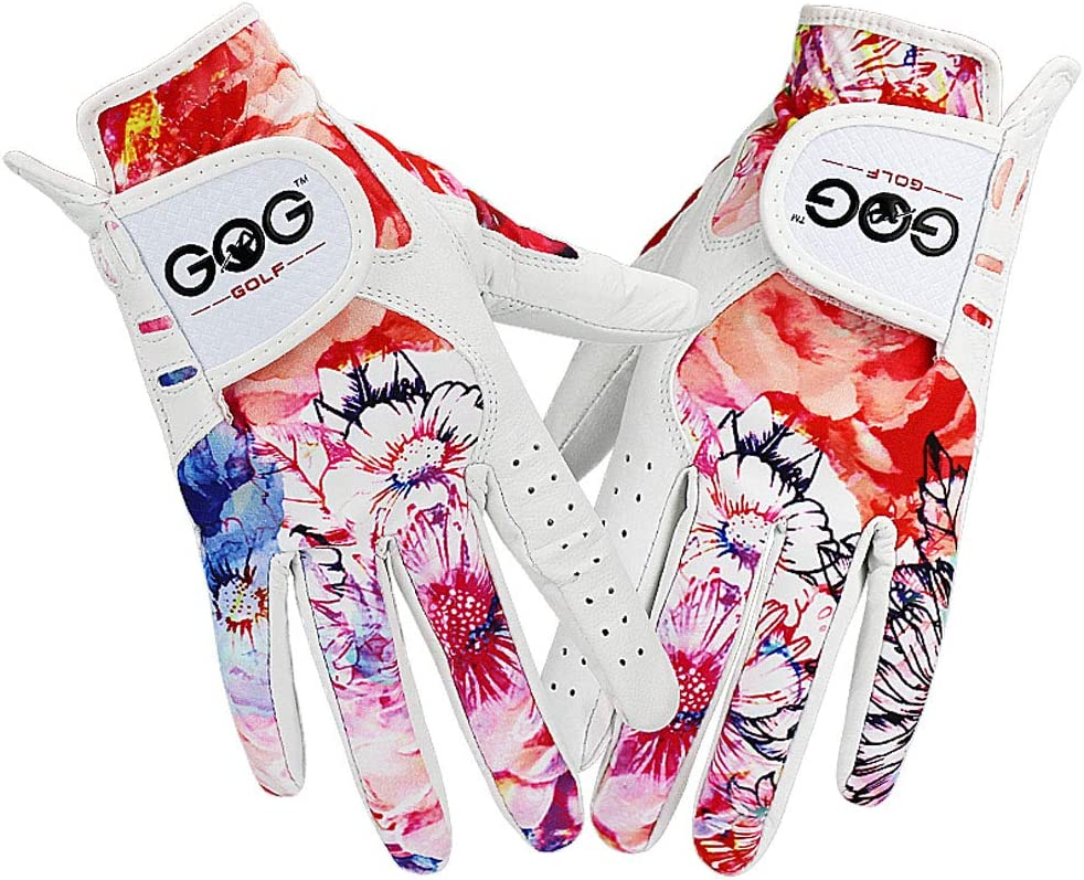 GOG Golf Glove Women, Sheepskin Leather Printed Pattern Color , Soft Fit Good Grip ,Ladies Left Right Both Hand (1 Pair) Gloves