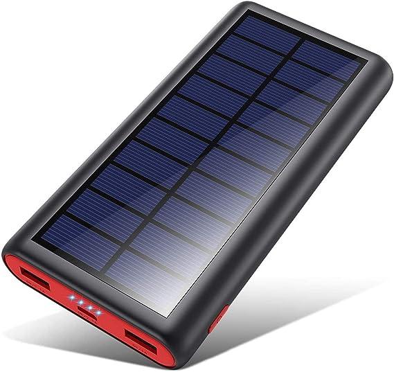 VOOE Cargador Solar 26800mAh Batería Externa, Carga Rápida Solar Power Bank con Nuevo IC de Control Inteligente, 2 Puertos de USB Cargador Portátil ...