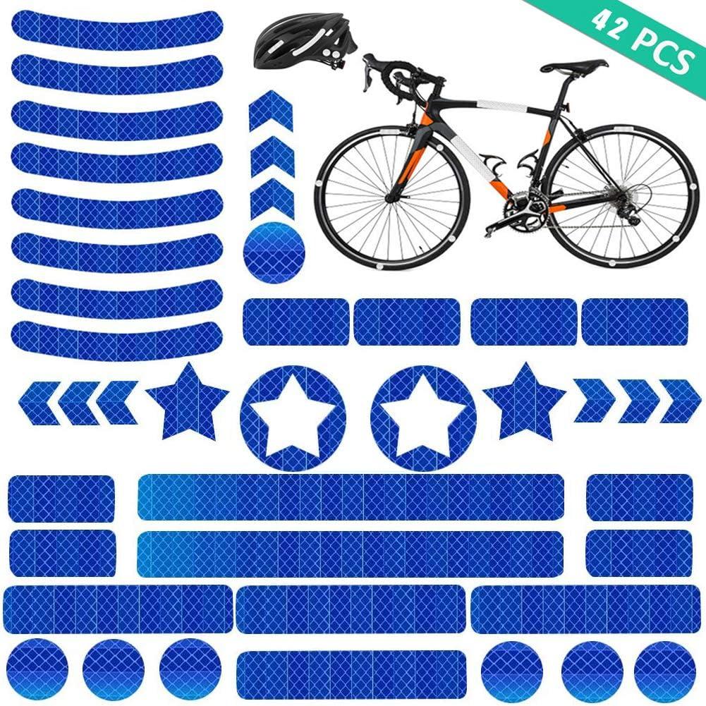 Azul YIKEF Pegatinas Reflectantes Sillas de Ruedas y M/ás Visibilidad de Noche 42 Piezas de Reflectores Adhesivos Reflector Stickers Bicicletas Cochecitos para Cascos