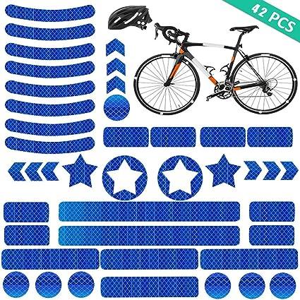 YIKEF Pegatinas Reflectantes, 42 Piezas de Reflectores Adhesivos Reflector Stickers, Visibilidad de Noche, para Cascos, Bicicletas, Cochecitos, Sillas de Ruedas y Más (Azul): Amazon.es: Coche y moto