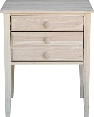 International Concepts Accent Table with Drawers Unfinished