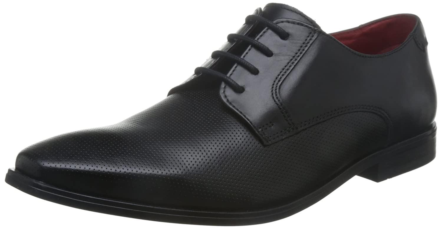 Base London Mens Charles Waxy Leather Smart Casual Derby Shoes 11|Black
