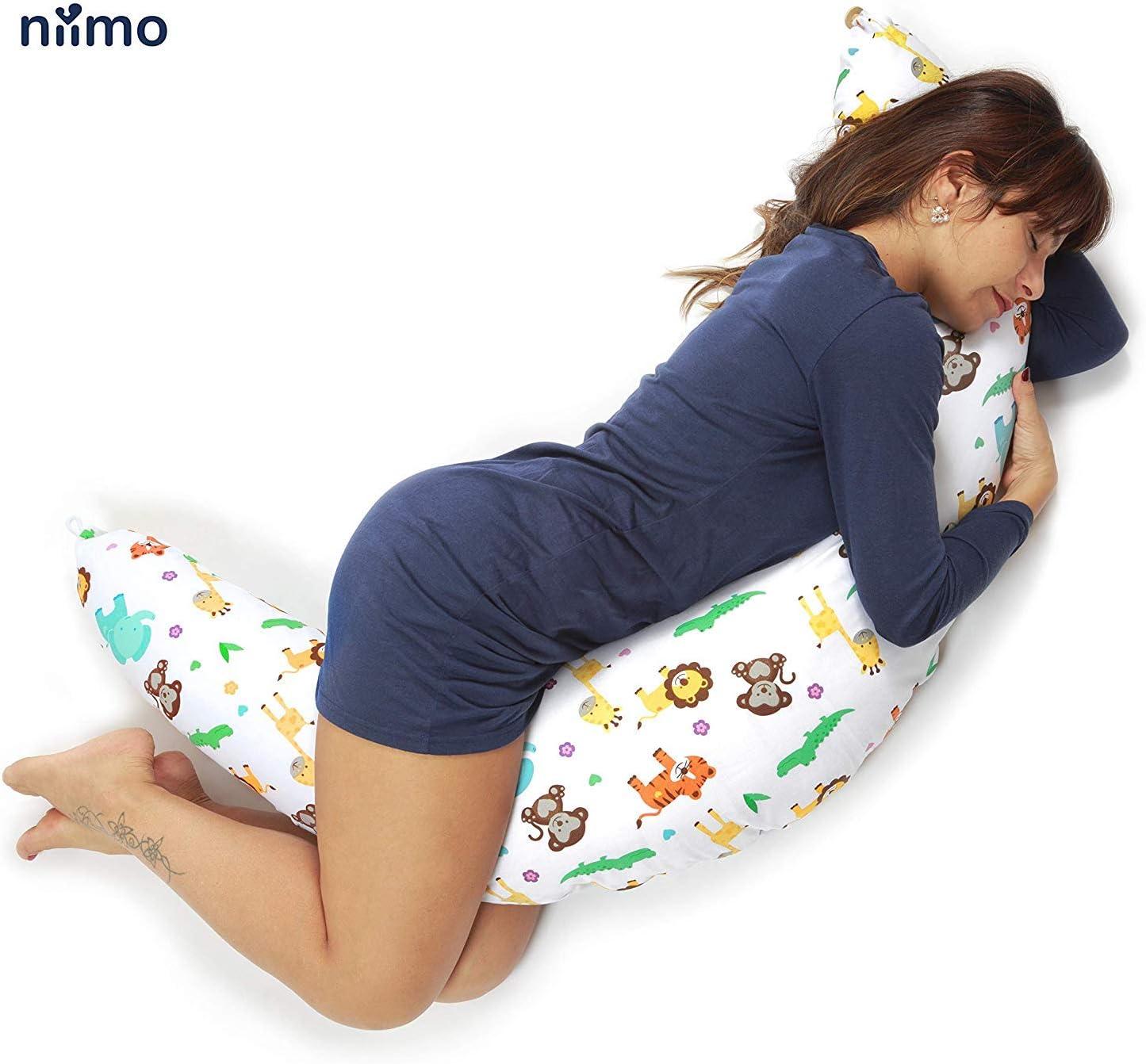 ALPHA XXL, Gris Niimo Almohada Embarazada Dormir y Cojin Lactancia Bebe Multifuncion Funda Cojin 100/% Algodon Desenfundable y Lavable Relleno de Poliester Multiusos Maternidad
