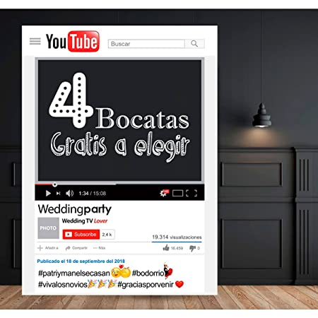 setecientosgramos Photocall Youtube | 80x110 | Ventana Youtube | Marco Youtube | PhotoBooth Youtube (Cartón 4mm)
