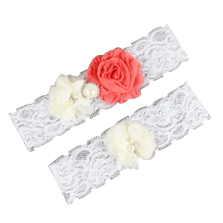 Bridess Wedding Stretch Lace Floral Garter Set 4131215