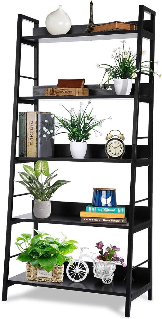 Homdox Estantería de Escalera de 5 Niveles, estantería Industrial de Madera y Metal, estantería de Almacenamiento para Plantas y Flores, para decoración del hogar: Amazon.es: Hogar
