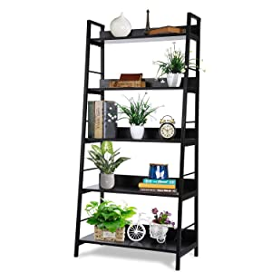 Homdox 5 Tier Ladder Shelf, Industrial Bookshelf Wood and Metal Bookcase, Plant Flower Stand Rack Book Rack Storage Shelves for Home Decor