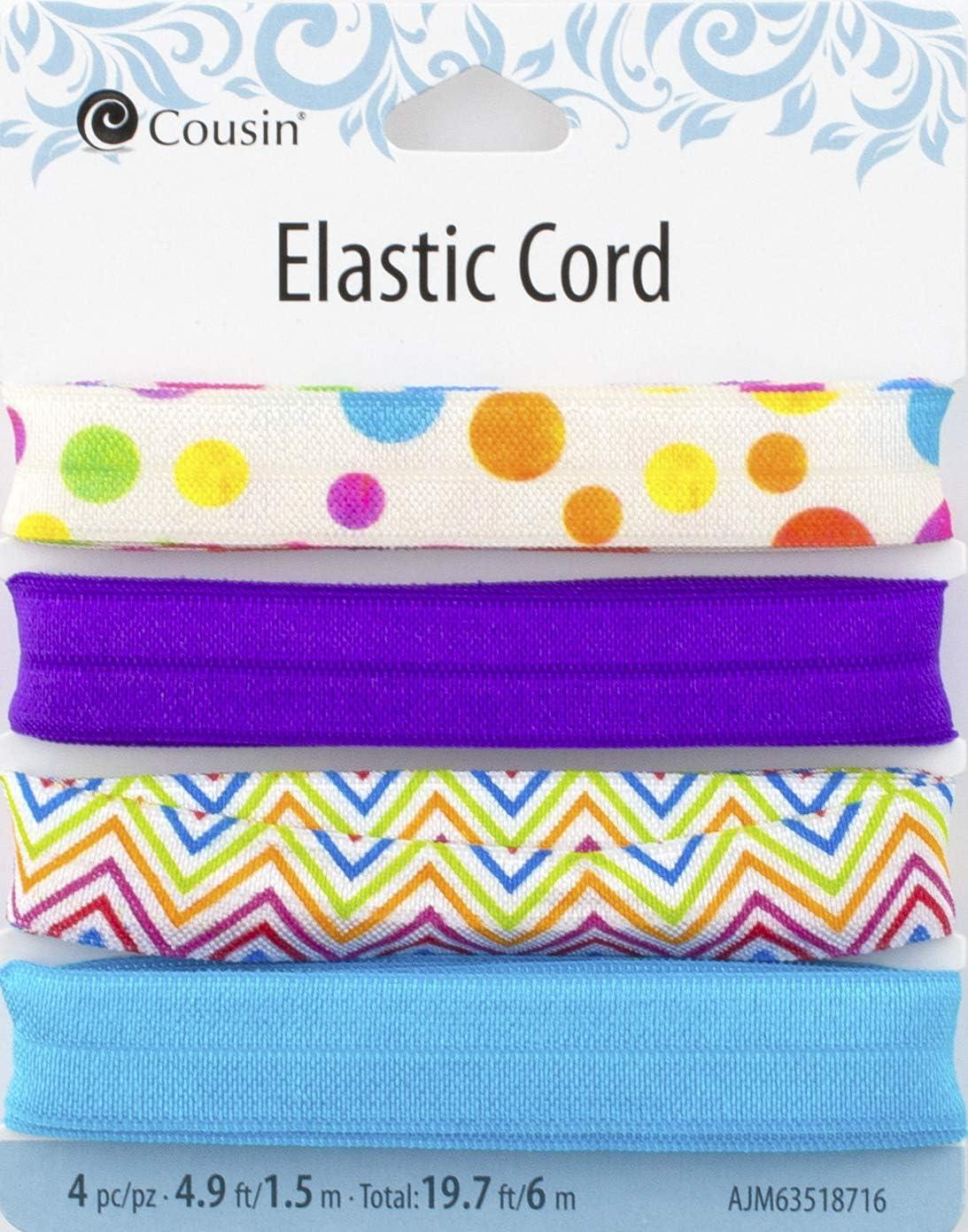 Blue Mix Cousin DIY 63518716 Color Polka Dots Purple Zig-Zags Fold Over Elastic Wide Band Ribbon