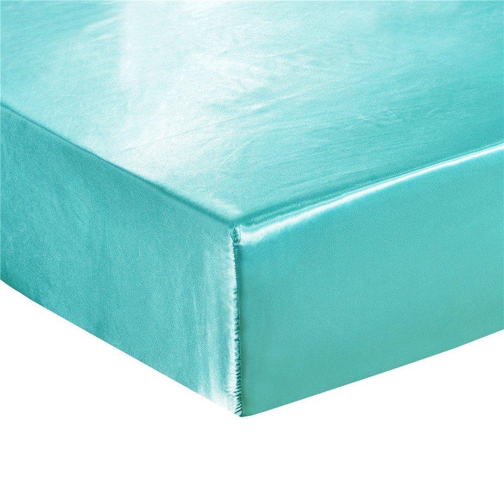elegantstunning Emulation Silk Mattress Cover Beddings Supplies Lake Blue 19820330(7880)(0.6KG)