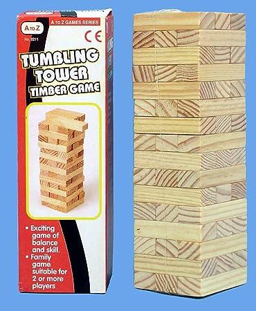 AZ Juegos - Mini Tumbling Torre Madera Juego - 16.5cm x 6.5cm: Amazon.es: Juguetes y juegos