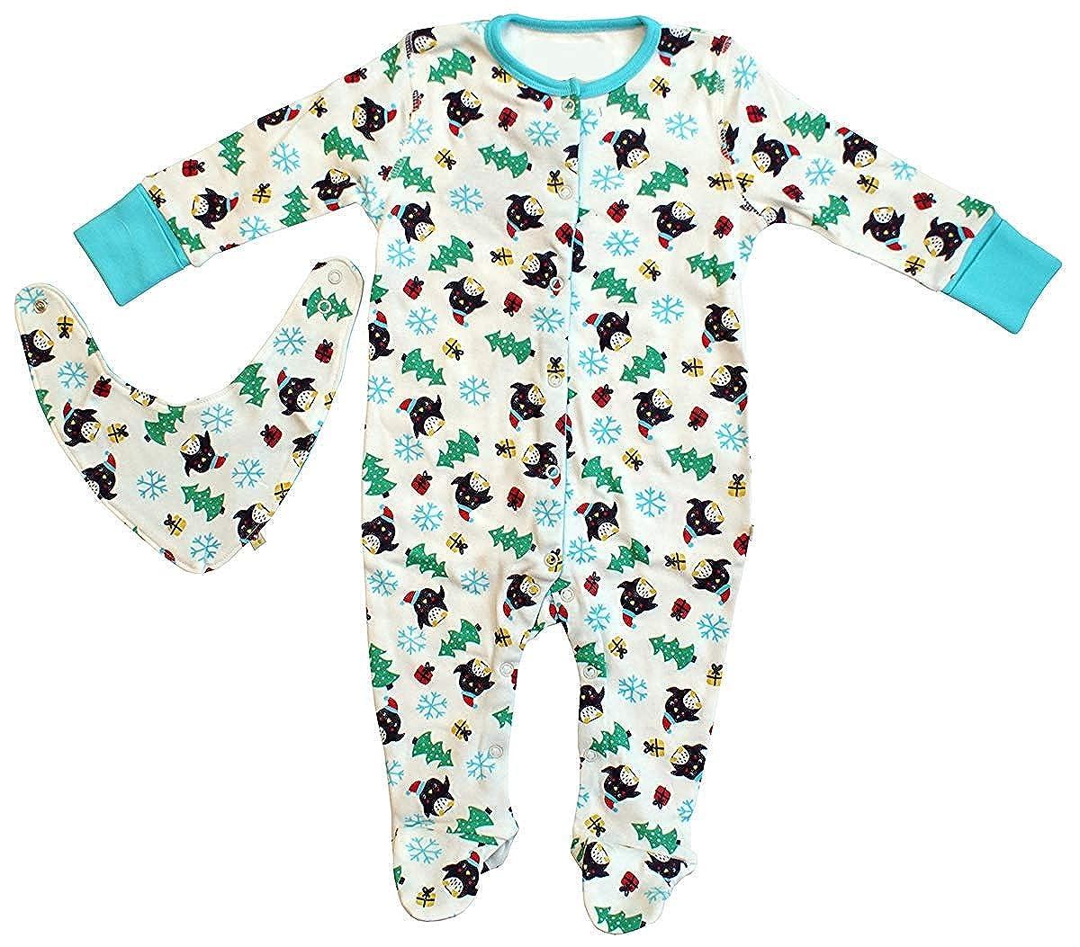 Baby Xmas Penguin Sleepsuit /& Bib Cotton Set Sizes from Newborn to 24 Months
