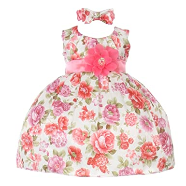 9dfd286e1 Amazon.com  Cinderella Couture Baby Girls Coral Floral Printed ...