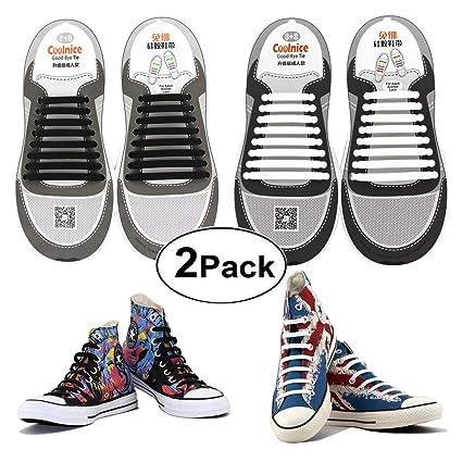 487c5580098fc Amazon.com: Shackcom No Tie Flat Elastic Shoelaces 2 Packs for Adult ...
