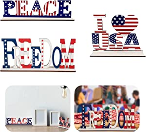 TSIN3PCS Independence Day Home Table Decoration,July 4th Patriotic Wooden Decorative Plaque American Flag Letter Sign,for Table Home Decor Office Decor Election Decor (Peace+USA+Freedom)
