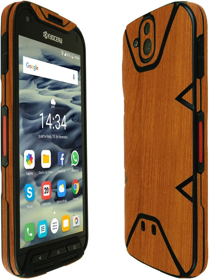 Skinomi Light Wood Full Body Skin Compatible with Kyocera Duraforce PRO Full Coverage TechSkin with Anti-Bubble Clear Film Screen Protector