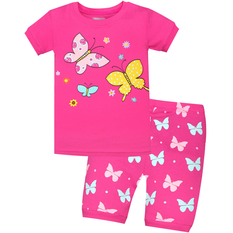b2e357b2bf AMGLISE Kids Little Boys Butterfly Short Pajamas 2 Piece Set 100% Cotton  Sleepwear PJS DeepPink (6Y-7Years)  Amazon.co.uk  Clothing