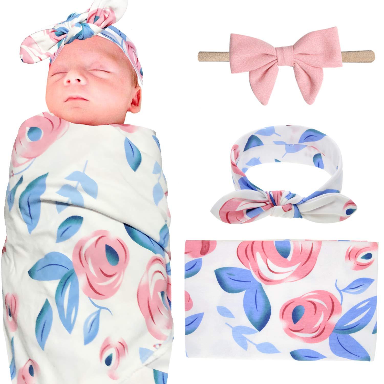 Elesa Miracle Newborn Baby Swaddle Blanket and Bow Nylon Headband Value Set, Newborn Receiving Blankets, 3pc-Blue Flower