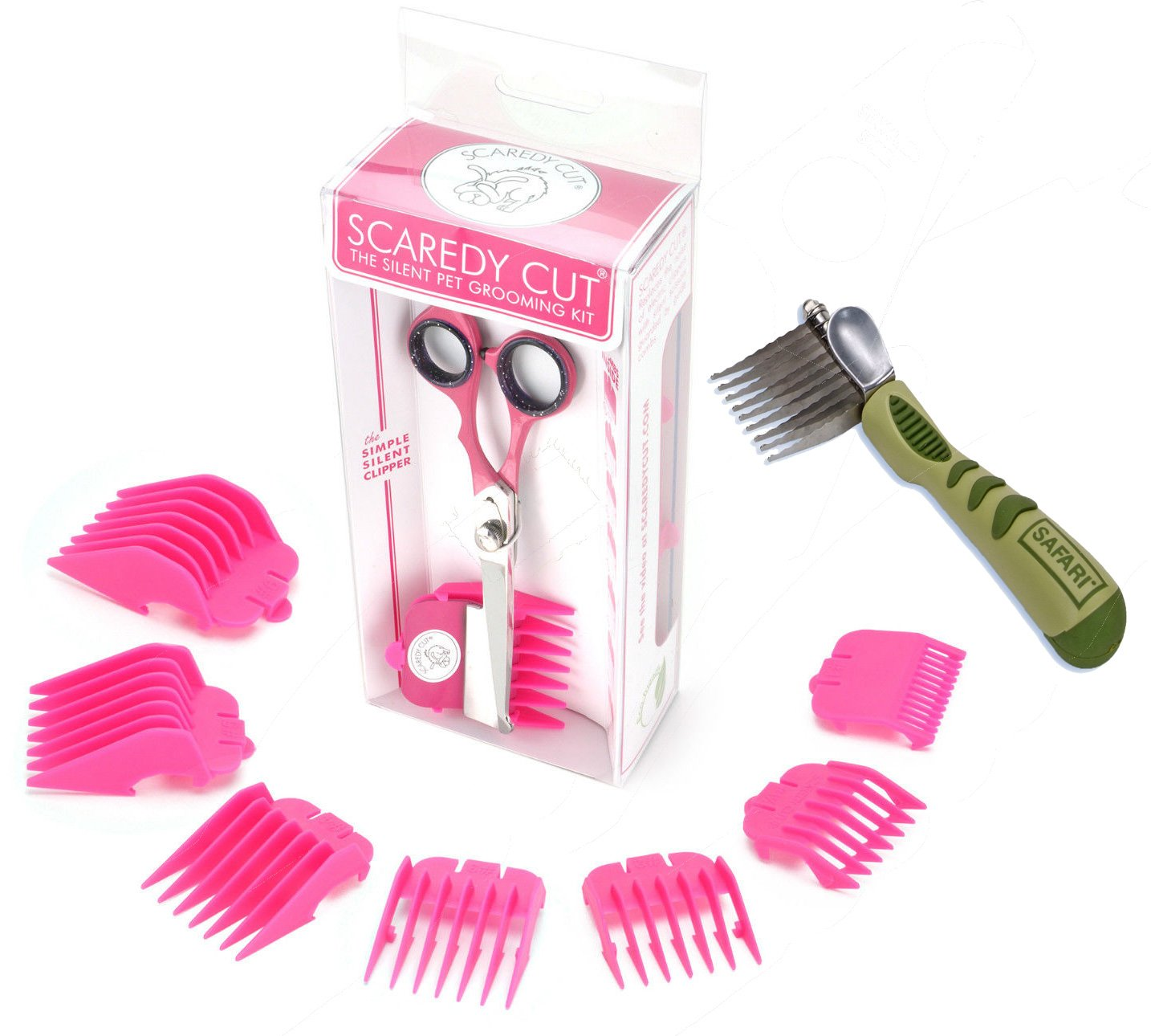 Scaredy Cut Silent Clipper, PINK, with Safari De-Matting Comb