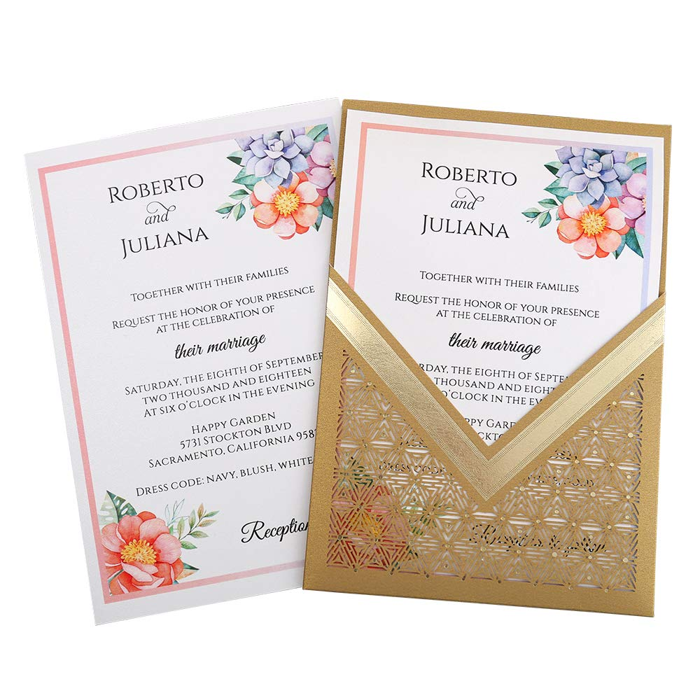 Doris Home wedding invitations with envelopes for Bridal Shower Invitations, Dinner Invitations CW0009 (Gold, 50pcs Blank)