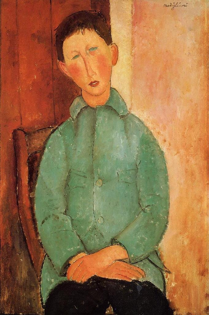 Modigliani Amedeo Boy in a Blue Shirt 100% Hand Painted Replica Oil Paintings 12X16 Inch