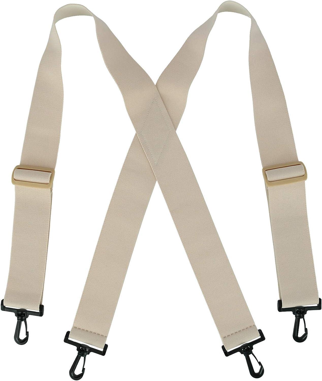 CTM Elastic Undergarment TSA Compliant Suspenders with Swivel Hook Ends