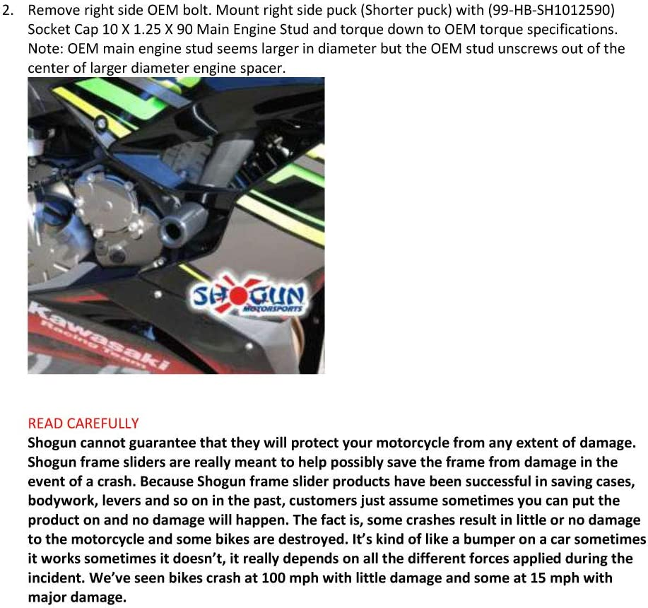 Made in the USA Shogun Kawasaki Ninja ZX6R ZX-6R ZX 636 2019 2020 NO Cut PA2 Black Frame Sliders Fits ABS /& NON ABS Models 715-4459