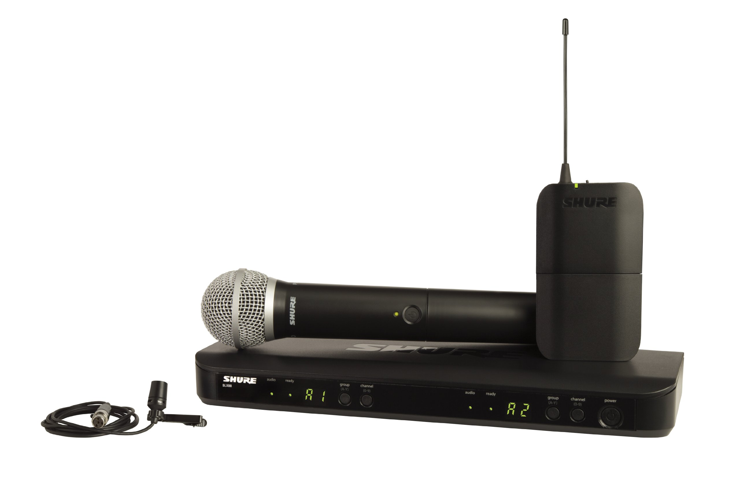 Shure BLX1288/CVL Dual Channel Combo Wireless System with PG58 Handheld and CVL Lavalier Microphone, J10