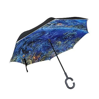 OREZI Double Layer Inverted Umbrellas Reverse Folding Umbrella Windproof Protection Big Straight Umbrella for Car Rain Outdoor With C-Shaped Handle,Artistic Fantasy Fish Ocean Sea Whale Umbrella for W