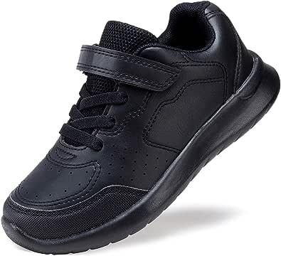 COODO Kids Boys Girls Shoes Black White School Uniform Sneakers