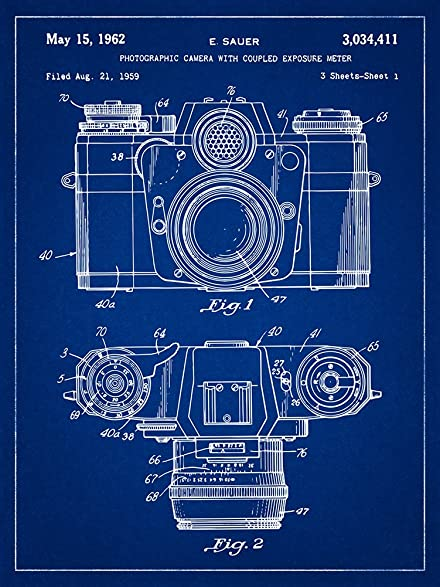 Amazon zeiss camera patent photography blueprint style art zeiss camera patent photography blueprint style art print 18x24 inch malvernweather Images