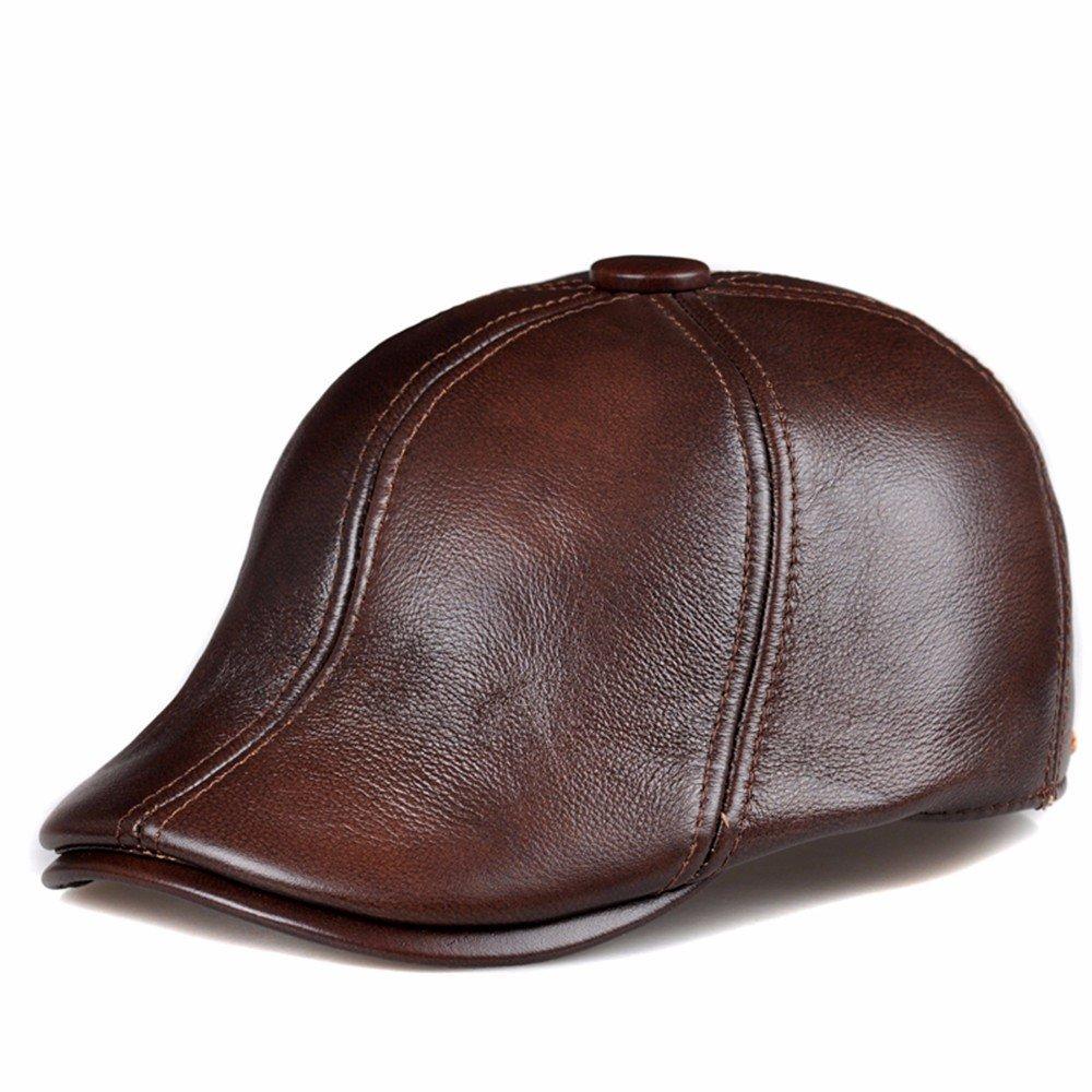 Le donne in pelle cappelli uomo cappelli donna berretti di cuoio caldo inverno tappi spessi,XXL (59-60cm),marrone scuro
