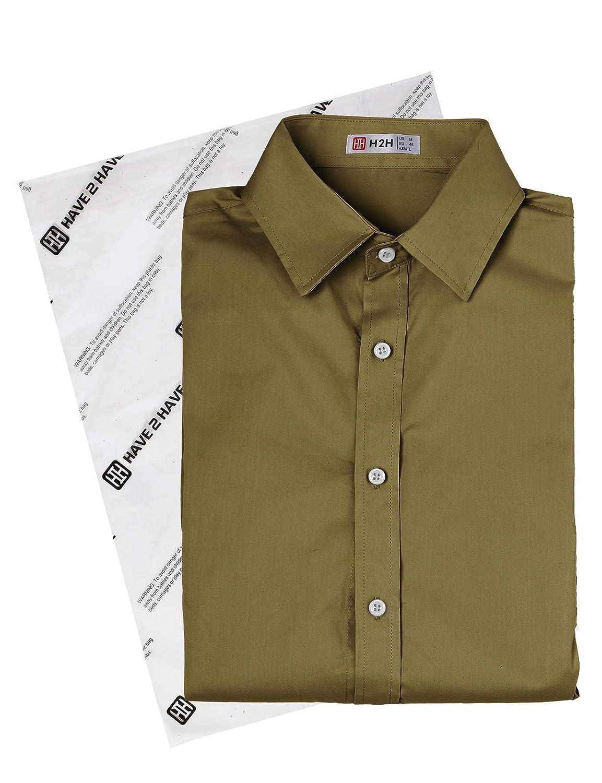 H2H Mens Dress Shirts Slim Fit Short Sleeve Business Shirt Basic Designed Breathable