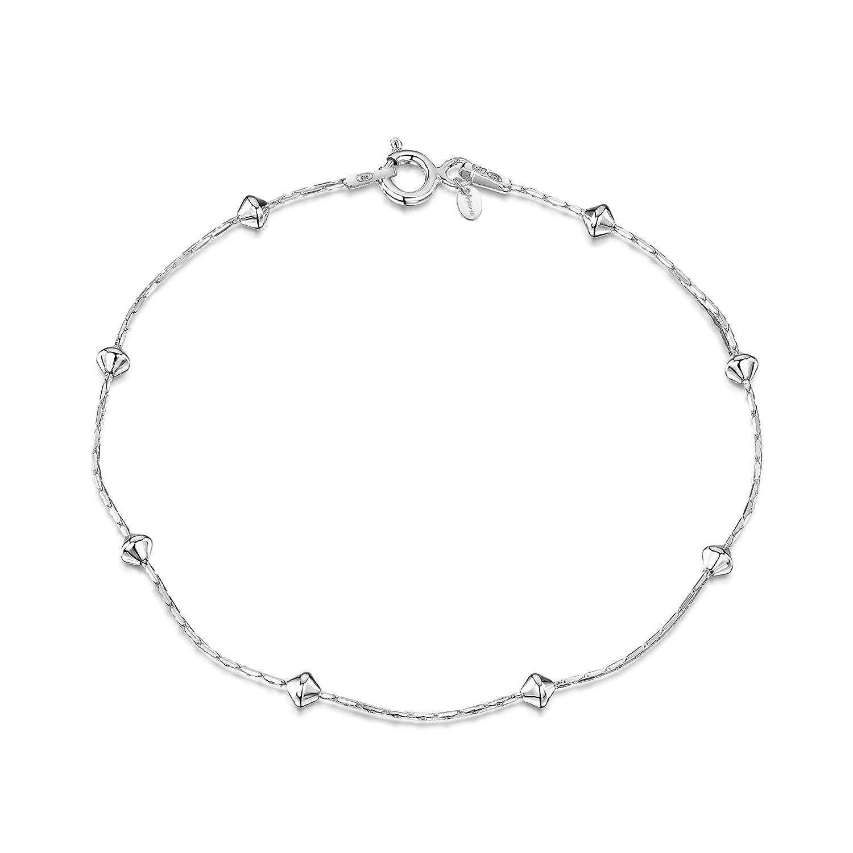Amberta® Bijoux - Bracelet - Chaîne Argent 925/1000 - Maille Serpentet boules - Largeur 1 mm - Longueur 18 19 20 cm BIA-S915-CHAIN-021-080-180
